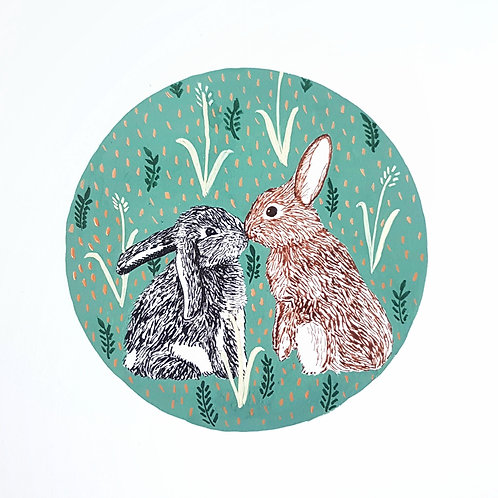 Kissing Rabbits and Folk Art | Original Ink Drawing | Framed