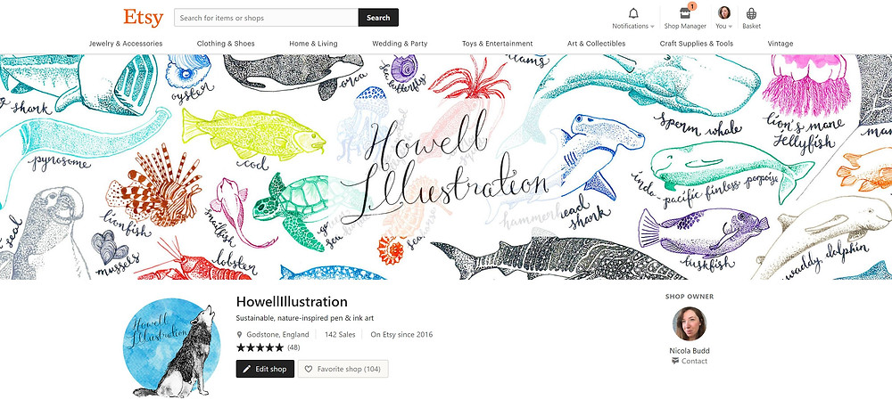 The front page of my Etsy store featuring my original, nature-inspired pen and ink artwork