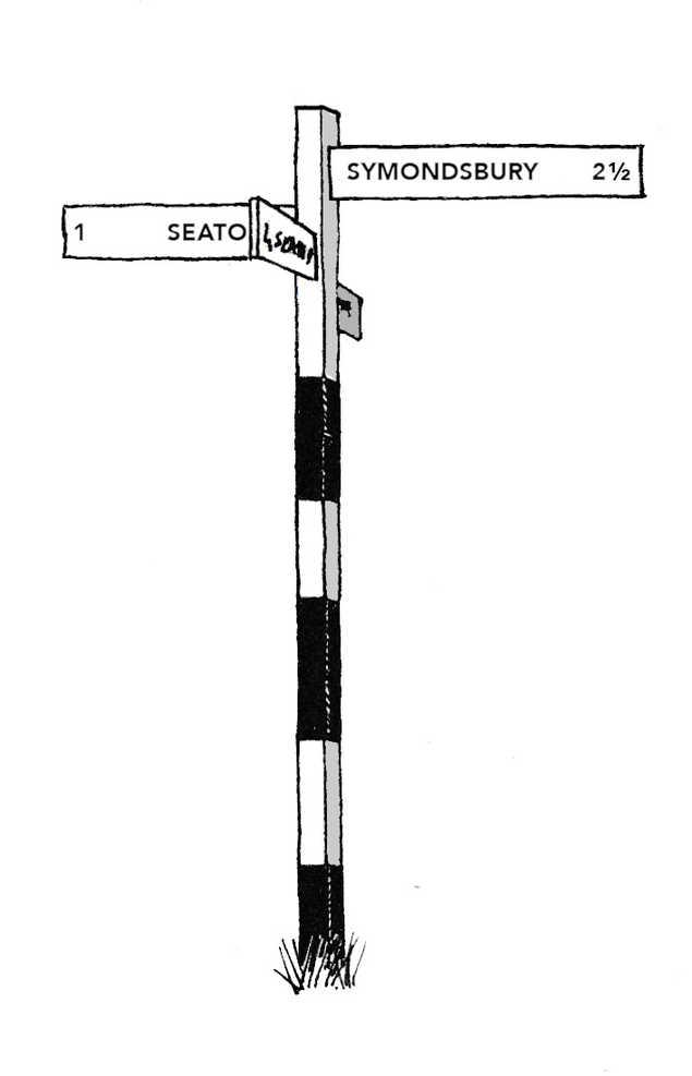 Signpost to Symondsbury Illustration