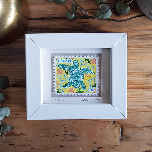 Sea Turtle Mini Stamp Art | Original Art | Howell Illustration