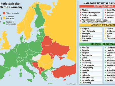 Itt a beutazási korlátozások listája: piros, sárga és zöld kategóriába sorolva