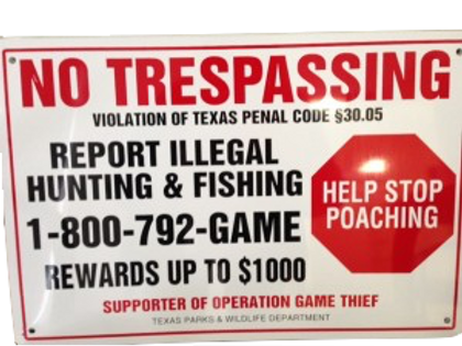 Official OGT No Trespassing Sign