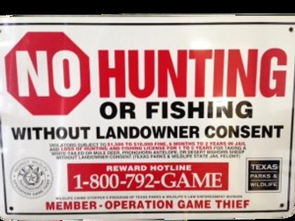 Official OGT No Hunting Sign