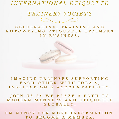 Monthly Etiquette Trainers Membership Connection