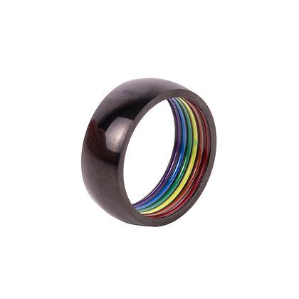 Ring   zwart   Regenboog inside