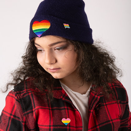 Beanie - blauw | Regenboog hart