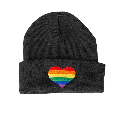 Beanie - zwart | Regenboog hart