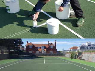 Tennis Court Hand Lining - Master Craftsmen
