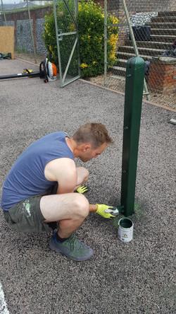 Tennis net post refurbished