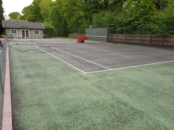 The court is pressure washed