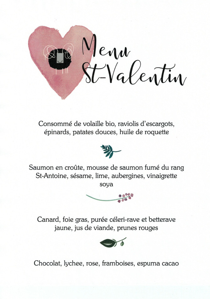 Menu Saint-Valentin - 49$