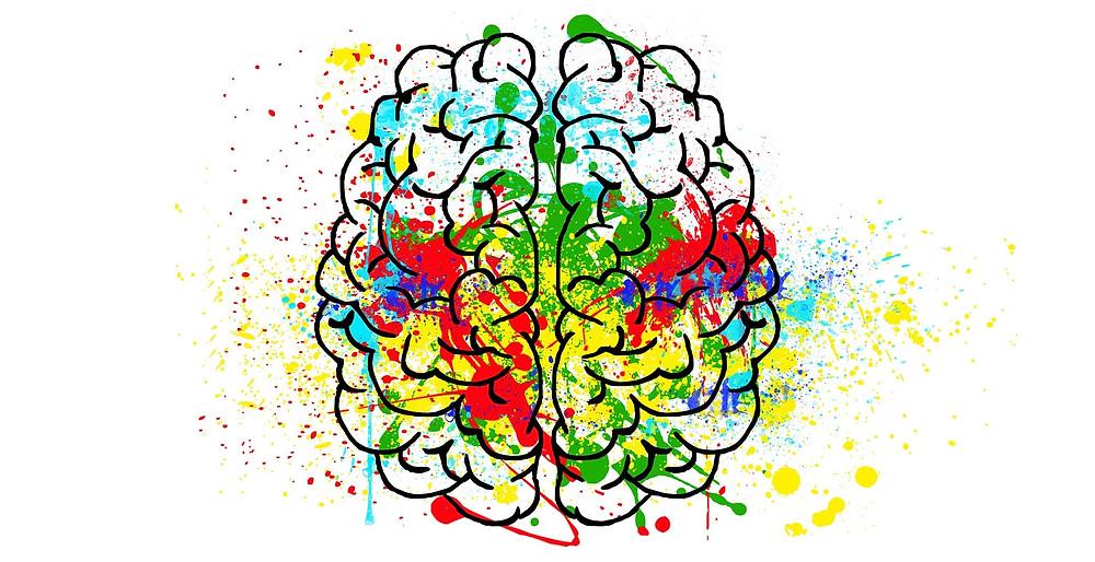 Cerebro con pintura de colores encima pensamiento divergente