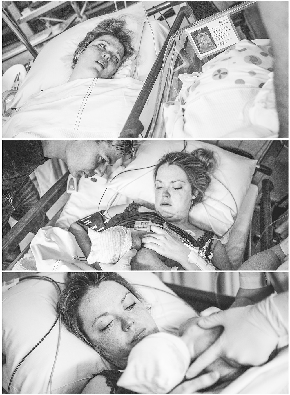 Geboorte fotografie, bevalling, Wilhelmina kinderziekenhuis, baby, weeen, pappa, mamma, keizersnede, sectio, spoed, narcose