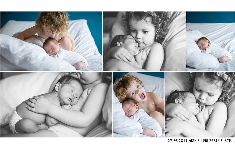 Grote trotse zus, baby, lekker knuffelen, zwart-wit, zussenliefde, kleine krullenbol