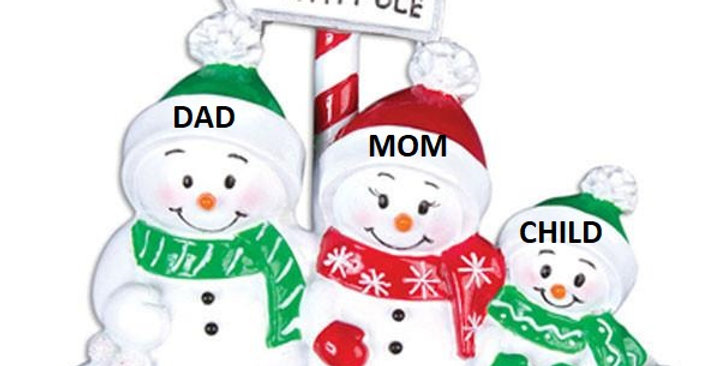 OR967-3 - North Pole Snowman Family of 3