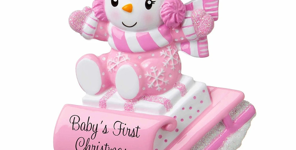 OR1742-P - Snowbaby on Sled (Pink)