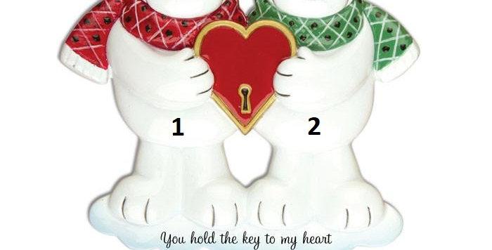 OR905 - Couples Key To My Heart Polar Bear