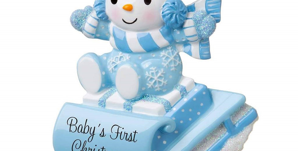 OR1742-B - Snowbaby on Sled (Blue)