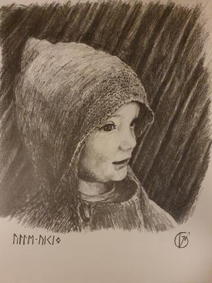Portræt af lille dreng. Lille Viking. 2017