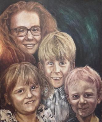 Portræt af The Schioltens, Sofie, Asta, Laurids og Jakob 2019