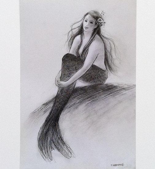 Mermaid Sitting with Flower in her Hair