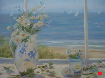 Beach Daisies in Blue and White Vase