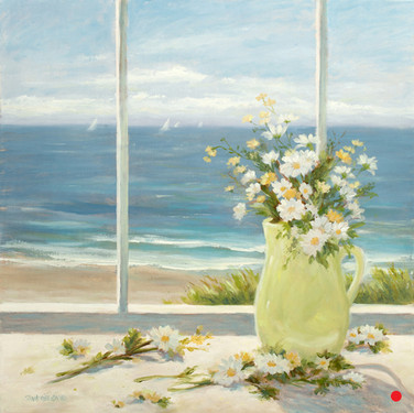 Beach Daisies in Yellow Vase