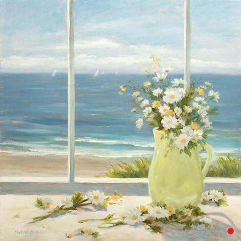 Beach Daisies in Yellow Vase