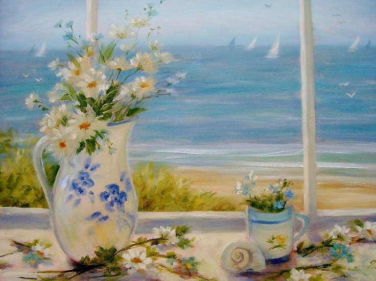 Beach Daisies in White Vase