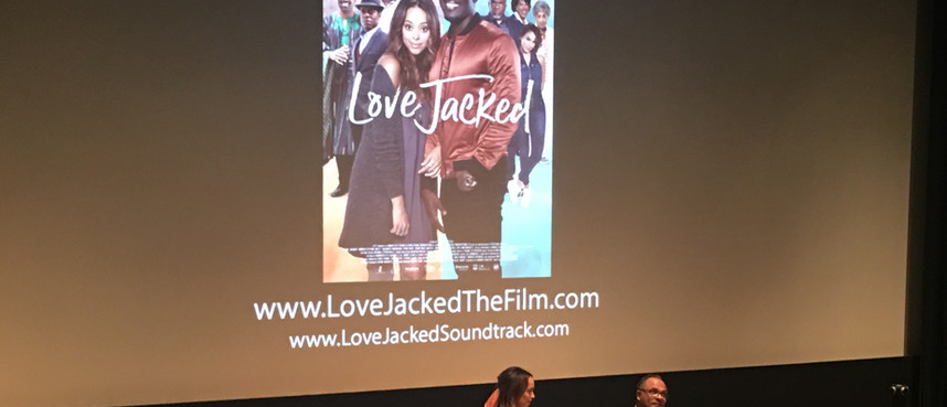 Amber and Alfons on stage at UTA screening