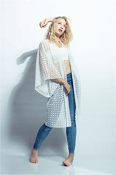signe singer songwriter models white kimono from alex rotin
