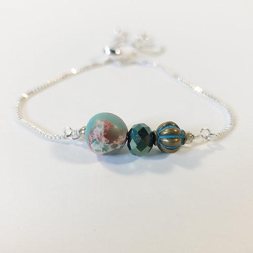 Aqua Impression Jasper Adjustable Bracelet