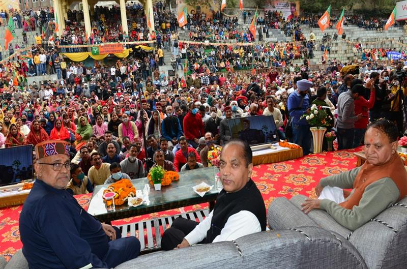 Chief Minister lays foundation stone of Shiv Dham at Mandi
