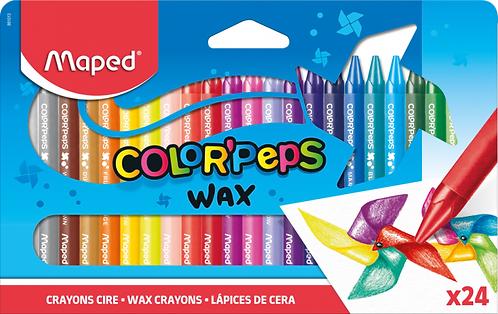 Maped Crayons cire doux aux couleurs vives x24