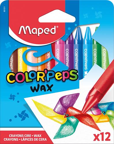 Maped Crayons cire doux aux couleurs vives x12