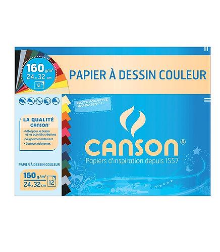 Canson Pochette Cancolor 12 feuilles 24x32  150gsm