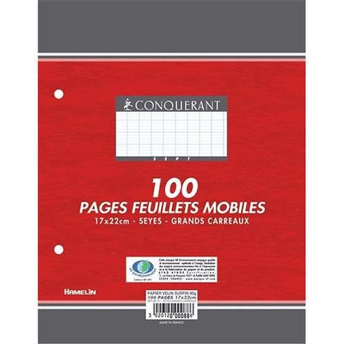 Sachet de 50 feuillets mobiles (100 pages) format 21x29,7 cm séyès 90g blanc