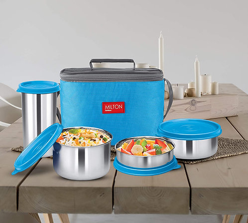 Milton Delicious Combo Steel Insulated Tiffin, Set of 4