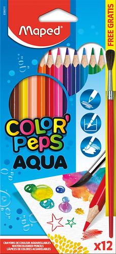 Maped Crayons de coloriage en bois pour aquarelle avec pinceau