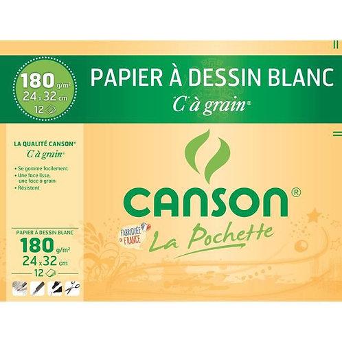 Canson Pochette C-A-Grain 12Feuilles  A4 180g