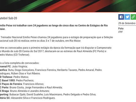 Pedro Matos convocado para estágio de preparação do Mundial Sub-20 Coreia do Sul 2017!