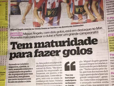 """Miguel Ângelo em destaque no jornal """"O Jogo""""!"""