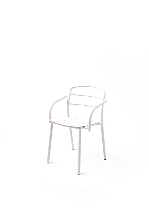 DINING CHAIR WITH ARMREST I White - White