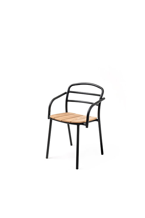 DINING CHAIR WITH ARMREST I Black - Wood