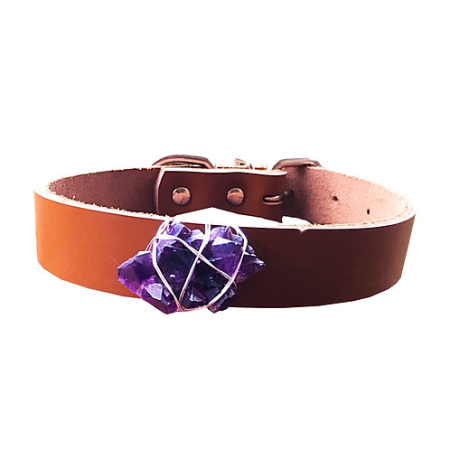Amethyst Crystal Healing Dog Collar