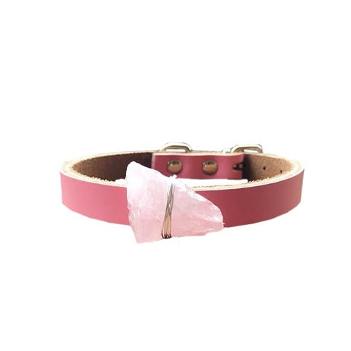 Rose Quartz Crystal Healing Dog Collar