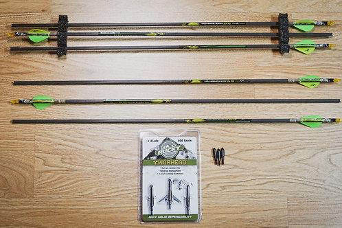 """6 Wolverine Hunter arrows 27.5"""",  3 broadheads, 3 field tips"""