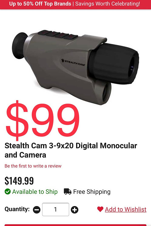 StealthCam Nightvision monocular with recording
