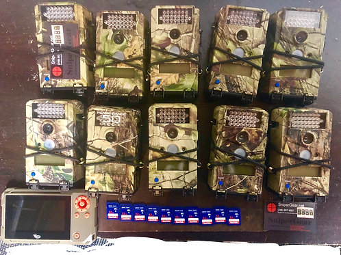 10 camo micro cams with SD and Viewer