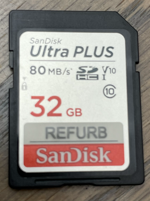 32GB Sandisk SD,  Class 10,   80MB/s